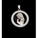 Pendente Aço Inox Medalha Círculo Branco [N. Senhora] - Prateado (30mm)