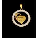 Pendente Aço Inox Medalha Círculo Branco [Coração] - Dourado (30mm)