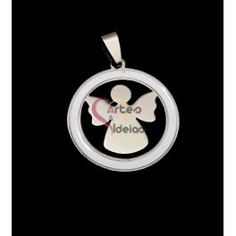 Pendente Aço Inox Medalha Círculo Branco [Anjo] - Prateado (30mm)