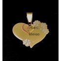Pendente Aço Inox Coração Flores - Dourado (20x25mm)