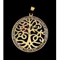 Pendente Aço Inox Árvore Vida com Brilhantes - Dourado (40mm)