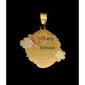 Pendente Aço Inox Mãe Contigo Aprendi a Amar - Dourado (25x28mm)