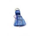Pompom de Seda com Argola - Azul e Branco (20 mm)