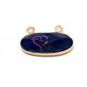 Pendente Oval Pedra Lapis Lazuli com Dourado (25x12mm)