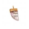 Pendente Pequeno Dente Pedra Quartzo Transparente (20x12mm)