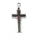 Pendente Aço Inox Cruz Oração Latim - Prateado (55x34mm)