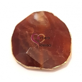 Pedra Semi-Preciosa Ágata Castanho Rosado com Dourado (aprox. 50mm)
