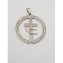 Pendente Aço Inox Medallion Cruz - Prateado (40mm)