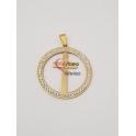 Pendente Aço Inox Medallion Cruz - Dourado (40mm)