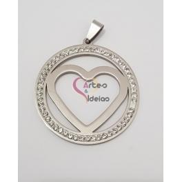 Pendente Aço Inox Medallion Coração - Prateado (40mm)