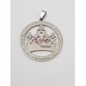 Pendente Aço Inox Medallion Coroa - Prateado (40mm)