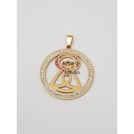 Pendente Aço Inox Medallion Santa - Dourado (40mm)