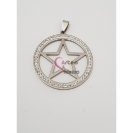 Pendente Aço Inox Medallion Estrela - Prateado (40mm)