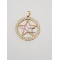 Pendente Aço Inox Medallion Estrela - Dourado (40mm)