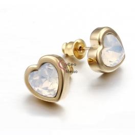 Brincos Aço Inox Coração Cristal Opalino - Dourados