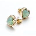 Brincos Aço Inox Coração Cristal Verde Opalino - Dourados