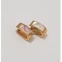 Brincos Aço Inox Argolas Ovais com Madrepérola - Douradas (18mm)