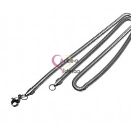 Fio Aço Inox Completo Malha Snake Espalmada (4mm) - Prateado [50cm]