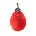 Pendente Pedra Semi-Preciosa Cornalina Lágrima com Topo Brilhante (60mm)