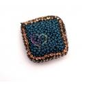 Conta Losângulo Efeito Esponja com Brilhantes - Azul (25mm)