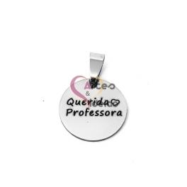 Pendente Aço Inox Querida Professora - Prateado (20mm)