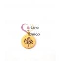 Pendente Aço Inox Medalhinha Recorte Árvore Vida - Dourado (12mm)
