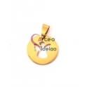 Pendente Aço Inox Redondo Recorte Anjo - Dourado (20mm)
