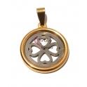 Pendente Aço Inox Rebordo Trevo 4 Corações - Prateado e Dourado (25mm)