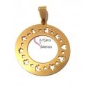 Pendente Aço Inox Círculo Recortes - Dourado (30mm)