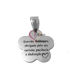 Pendente Aço Inox Flor Querida Professora(...) - Prateado (20mm)