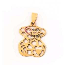 Pendente Aço Inox Ursinho Floral - Dourado (28x22mm)