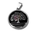 Pendente Aço Inox Black Collection [Árvore da Vida Curly] - Prateado (25mm)