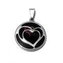 Pendente Aço Inox Black Collection [Coração] - Prateado (25mm)
