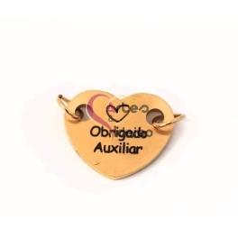 Conector Aço Inox Coração Obrigado Auxiliar - Dourado