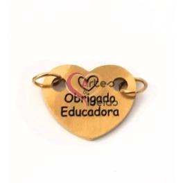 Conector Aço Inox Coração Obrigado Educadora - Dourado