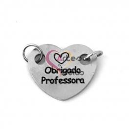 Conector Aço Inox Coração Querida Professora - Prateado