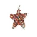 Pendente Metal Estrela do Mar com Pedrinhas Cornalina - Prateado (60x55mm)
