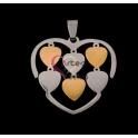 Pendente Aço Inox Coração com Corações - Prateado e Dourado (32x35mm)
