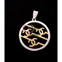 Pendente Aço Inox Redondo com Simbolos - Prateado e Dourado (27mm)