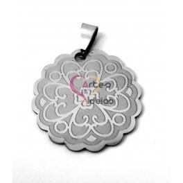 Pendente Aço Inox Medalha Floral - Prateado (30mm)