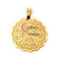 Pendente Aço Inox Medalha Floral - Dourado (30mm)