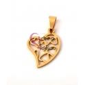 Pendente Aço Inox Coração Mini Corações - Dourado (20x15mm)