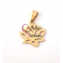 Pendente Aço Inox Flor de Lotus - Dourado (15mm)