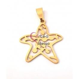 Pendente Aço Inox Estrela do Mar - Dourado (30x28mm)