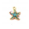 Pendente Metal Estrela do Mar Azul - Dourado (15mm)