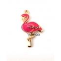 Pendente Metal Flamingo Rosa - Dourado (30x28mm)