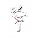 Pendente Aço Inox Flamingo - Prateado (45x30mm)