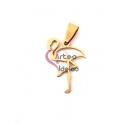 Pendente Aço Inox Flamingo - Dourado (35x25mm)