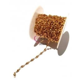 Corrente Aço Inox Elo e Bolinha (2.5) - Dourado [1metro]
