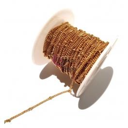 Corrente Aço Inox Malha Espalmada com Bolinhas (0.5) - Dourado [1metro]
